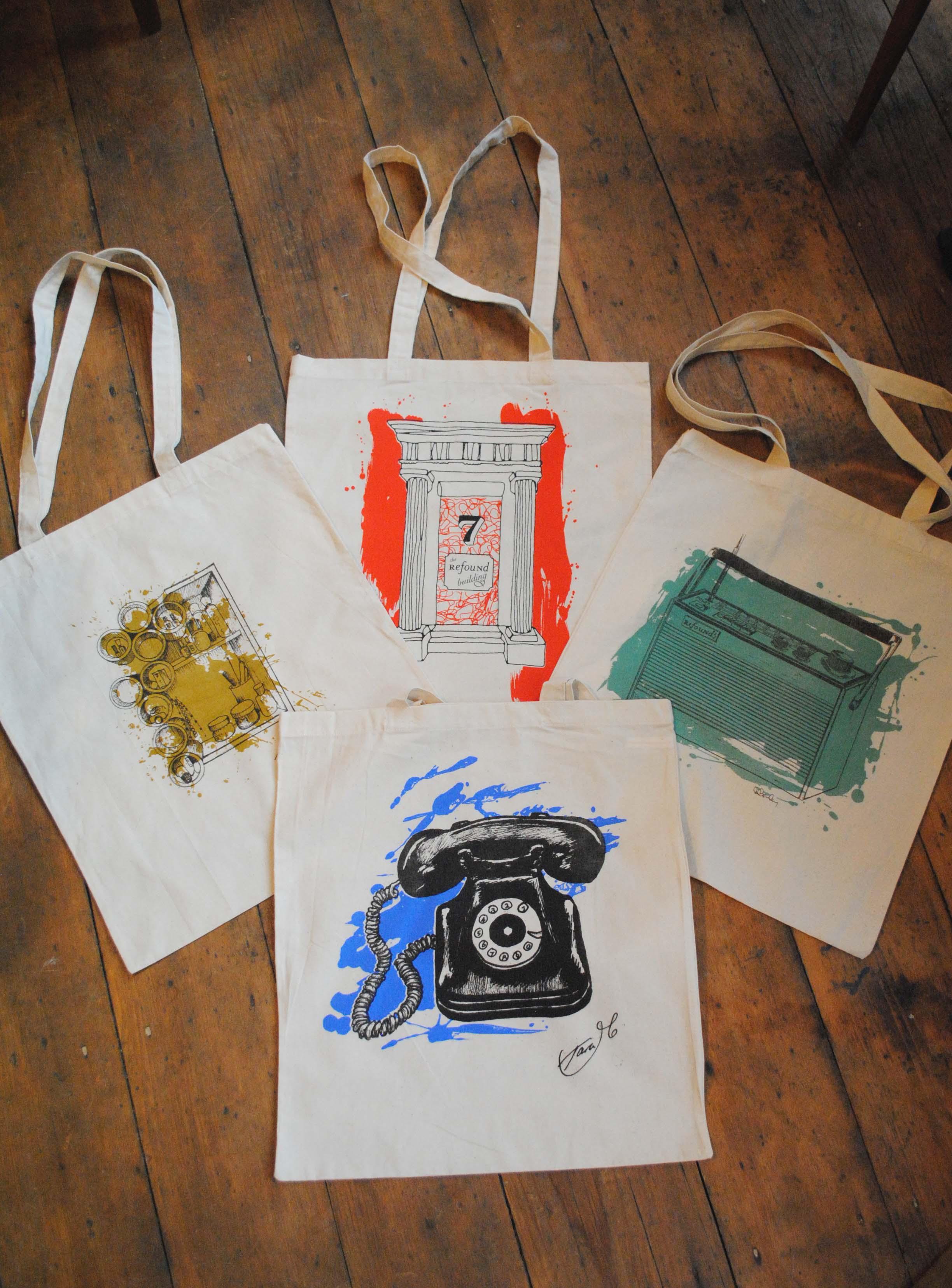 Tara McNeill's ReFound Telephone Bag, Deborah Gormley's ReFound Radio Bag, Esme & Bill Edwards' ReFound Storage Unit Bag, ReFound's Own Red Door Bag