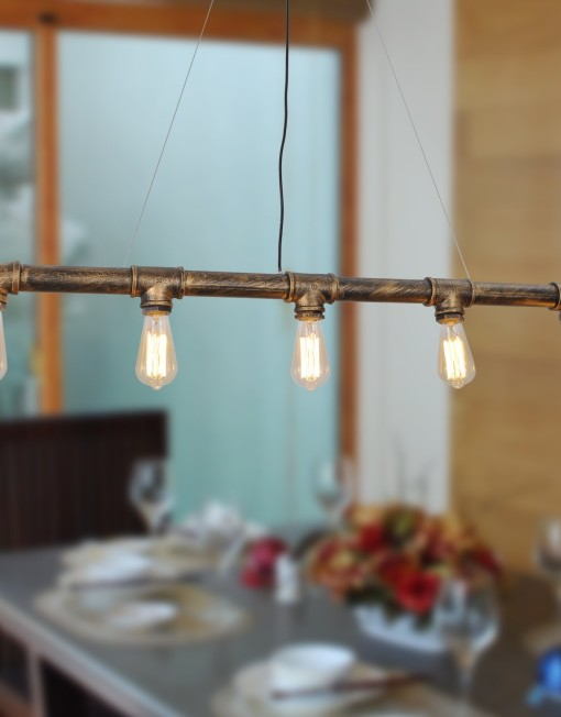 Industrial Pipe with Edison light bulbes