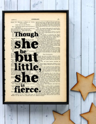 "Framed Shakespeare quote ""though she be but little"" vintage word art print"