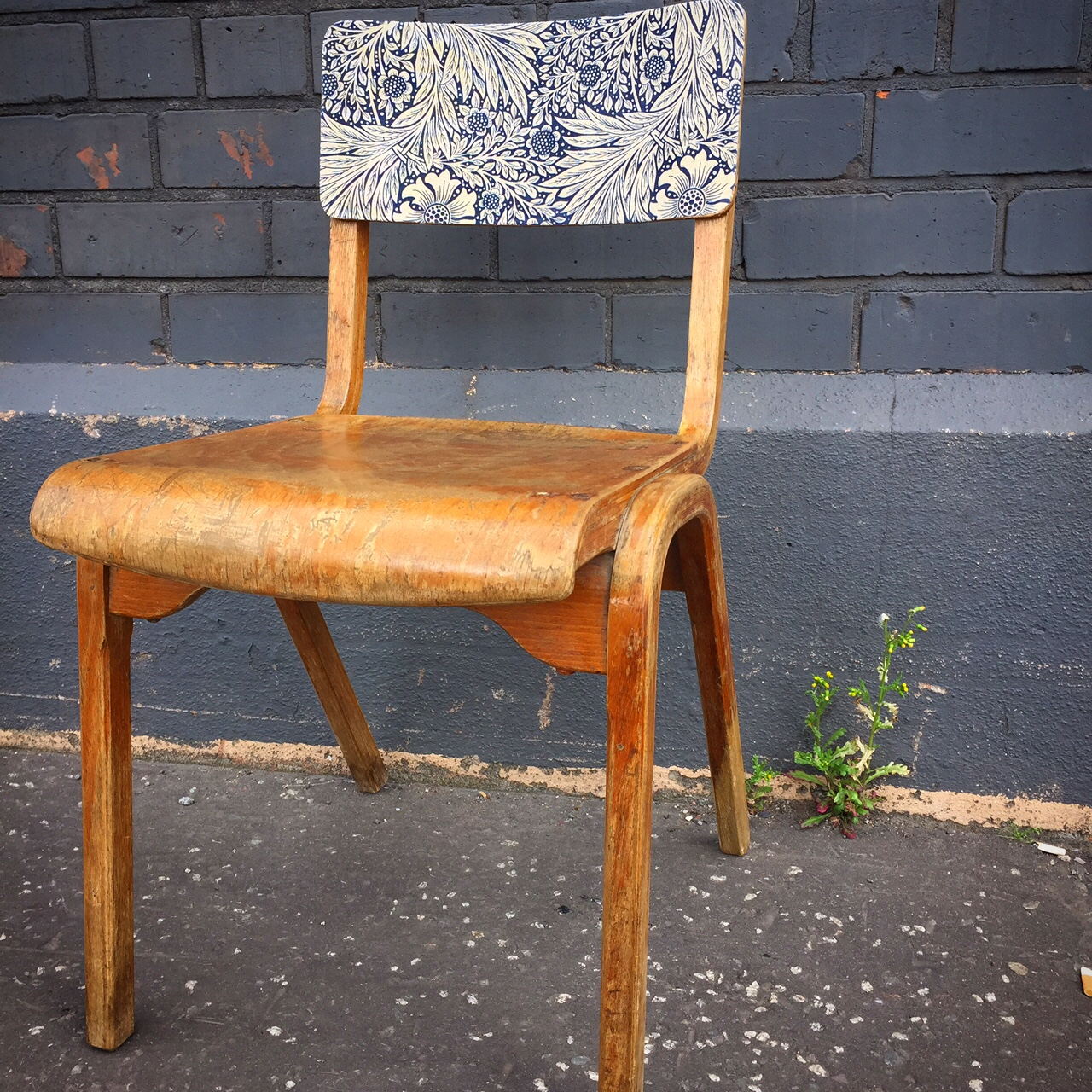 vintage school chair with Wiliam Morris print fabric back