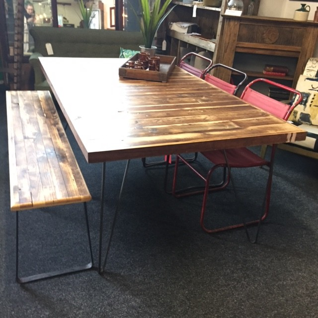 Upcycled Wooden Metal table and bench